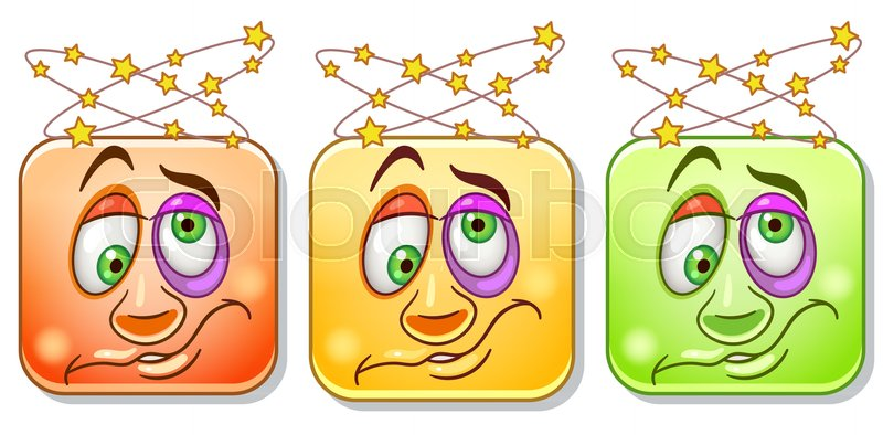 Dizzy emoji face with headache and spinning stars emoticons collection colorful smiley set avatar symbol internet message or chat icon