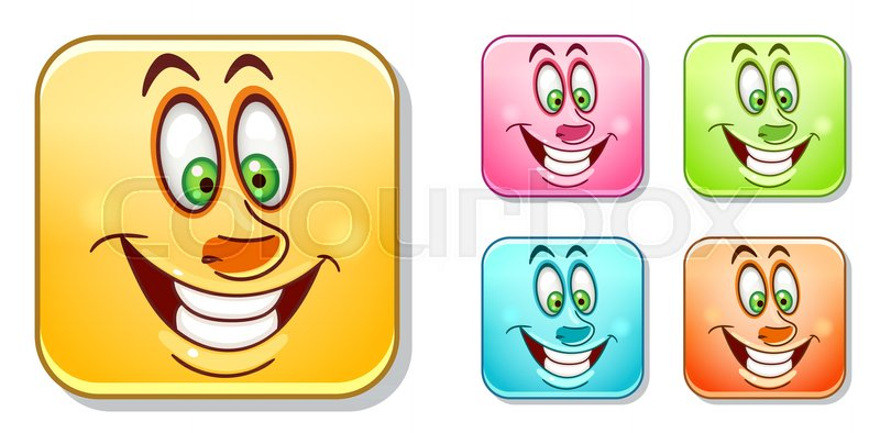 Happy Cheerful Emoji Face Emoticons Collection Colorful Smiley Set