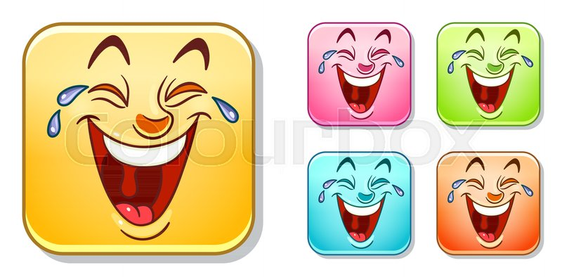 Happy Laughing Out Loud Emoji Face Emoticons Collection Colorful Smiley Set Avatar Symbol Internet Message Or Chat Icon Sign For Web Mobile App Logo