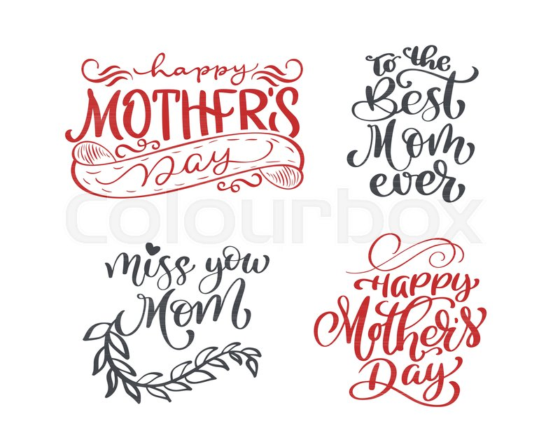 Happy mothers day set Hand drawn lettering quotes. Vector t-shirt or ...