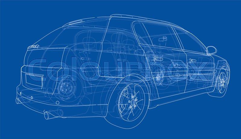 Concept car blueprint  3d illustration        Stock image