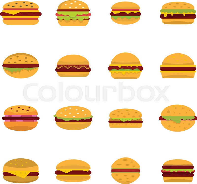 Burger icons set  Flat illustration of     | Stock vector