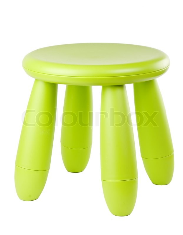 Stock image of 'Baby green plastic stool on a white background'