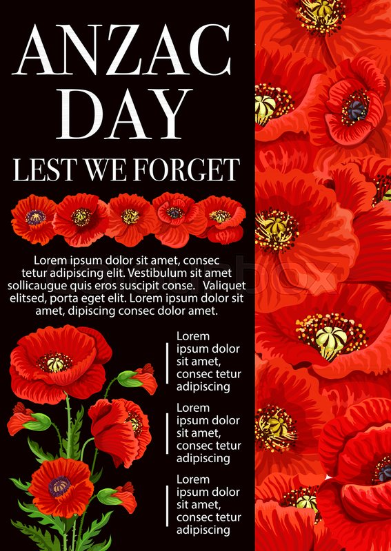 Anzac day lest we forget banner for 25 april remembrance day of anzac day lest we forget banner for 25 april remembrance day of world war soldier and veterans red poppy flower and floral bouquet memorial poster design mightylinksfo