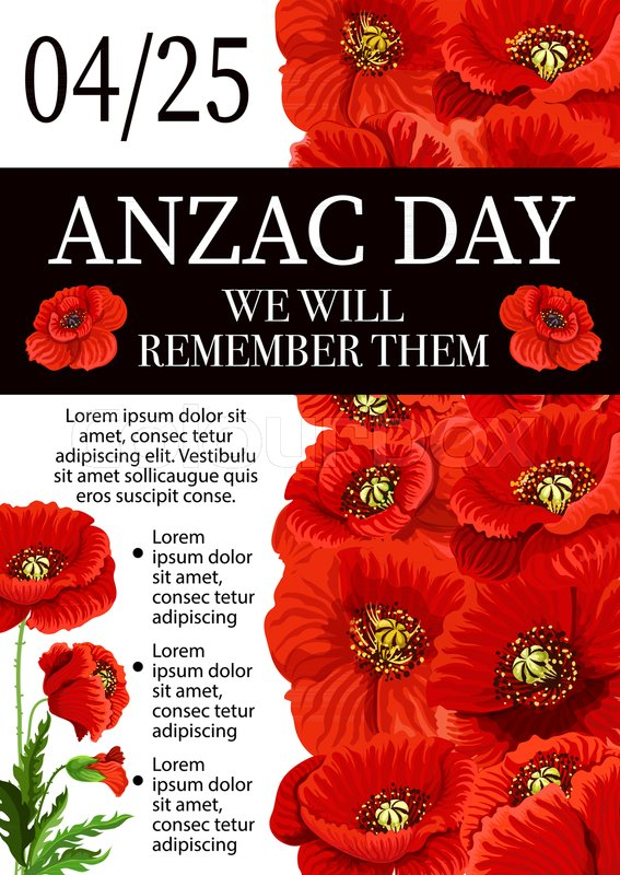 Anzac day lest we forget greeting card of poppy flowers for 25 april anzac day lest we forget greeting card of poppy flowers for 25 april australian and new zealand war remembrance anniversary holiday mightylinksfo