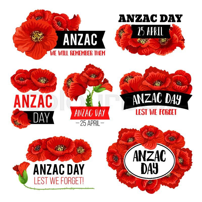 Anzac Day Poppy Flower Memorial Card Stock Vector Colourbox