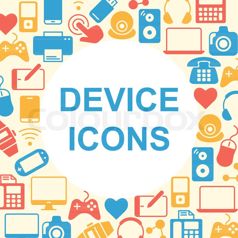 Device Outline Icons Set Electronic Symbols Collection Line Icons