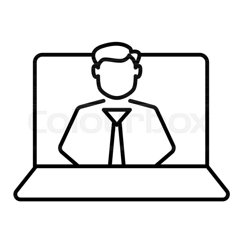 Video Tutorial Vector Line Icon Isolated On White Background Laptop With For Infographic Website Or App Online Master Class