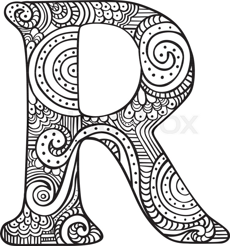 Hand drawn capital letter R in black Stock Vector