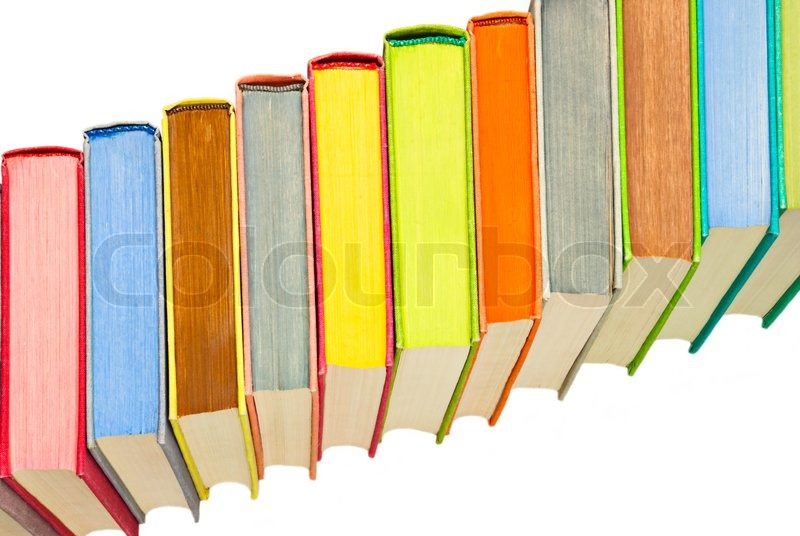 lot of colored hard covered used books stock photo colourbox