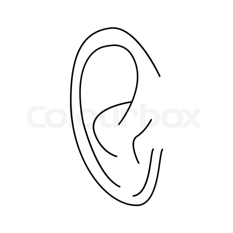 ear icon outline ear vector icon for web design isolated on white
