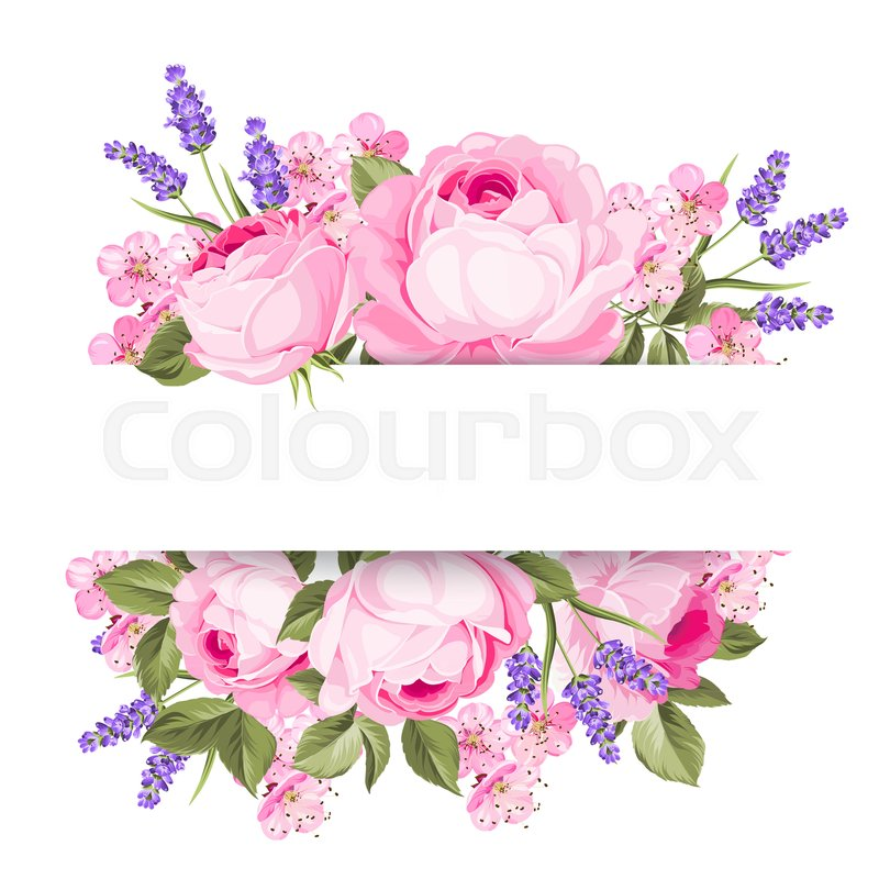 Blooming spring flowers garland of purple roses sakura and lavender blooming spring flowers garland of purple roses sakura and lavender label with rose and lavender flowers vector illustration stock vector colourbox mightylinksfo