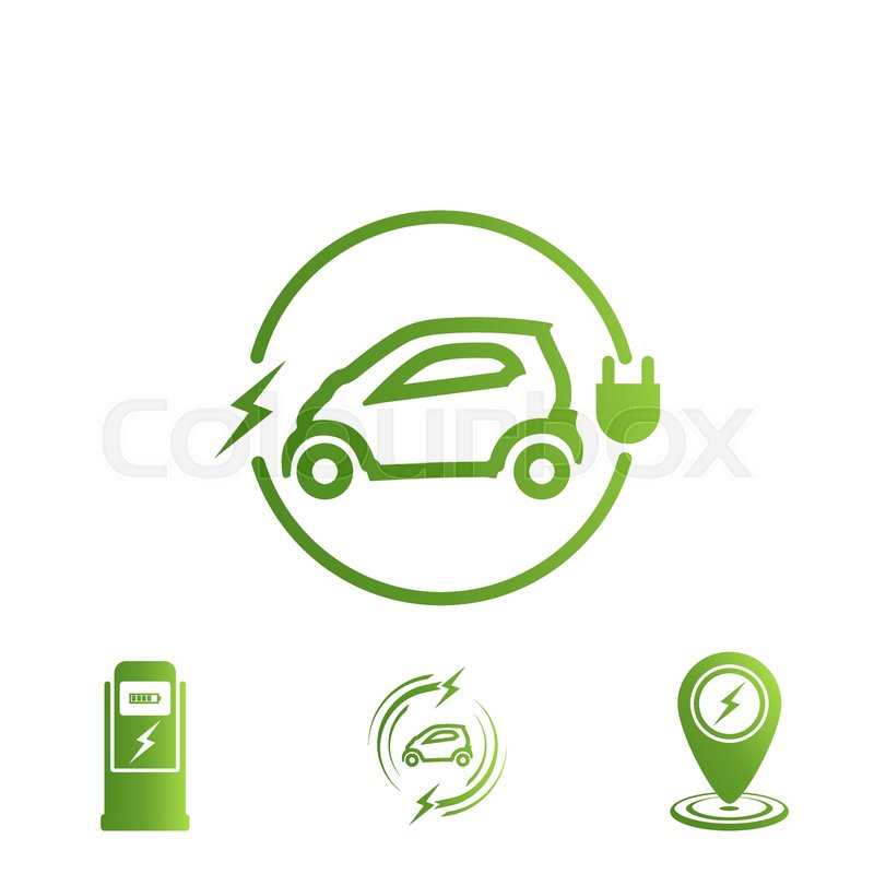 Set Of Icons Electric Car Electric Stock Vector Colourbox
