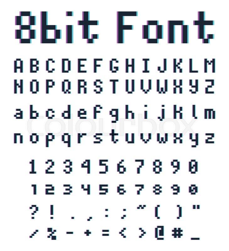 8bit Font Alphabet Retro Style Game Type