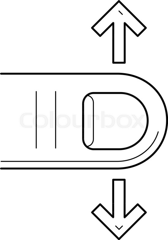 Scroll Down Vector Line Icon Isolated On White Background Interface