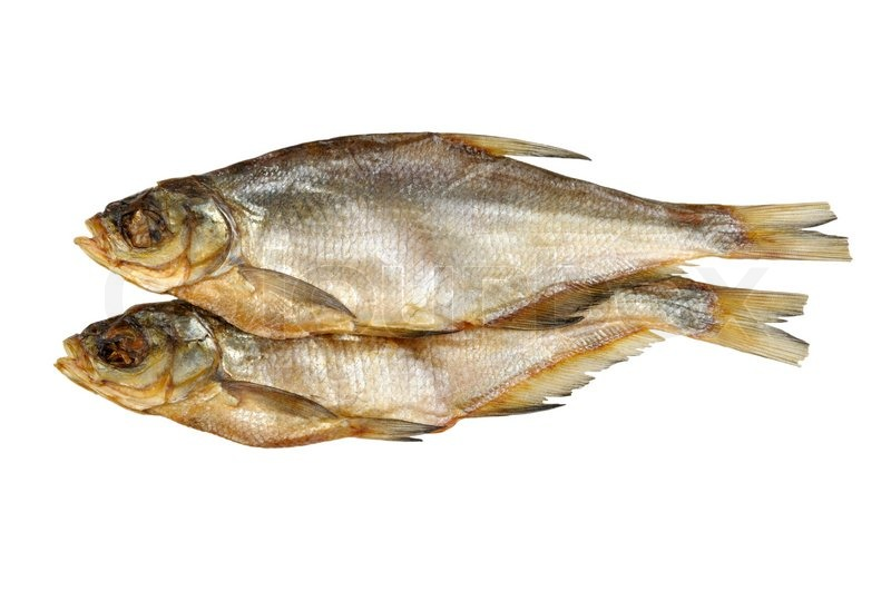Dried fish isolated on a white background stock photo for Dried salted fish