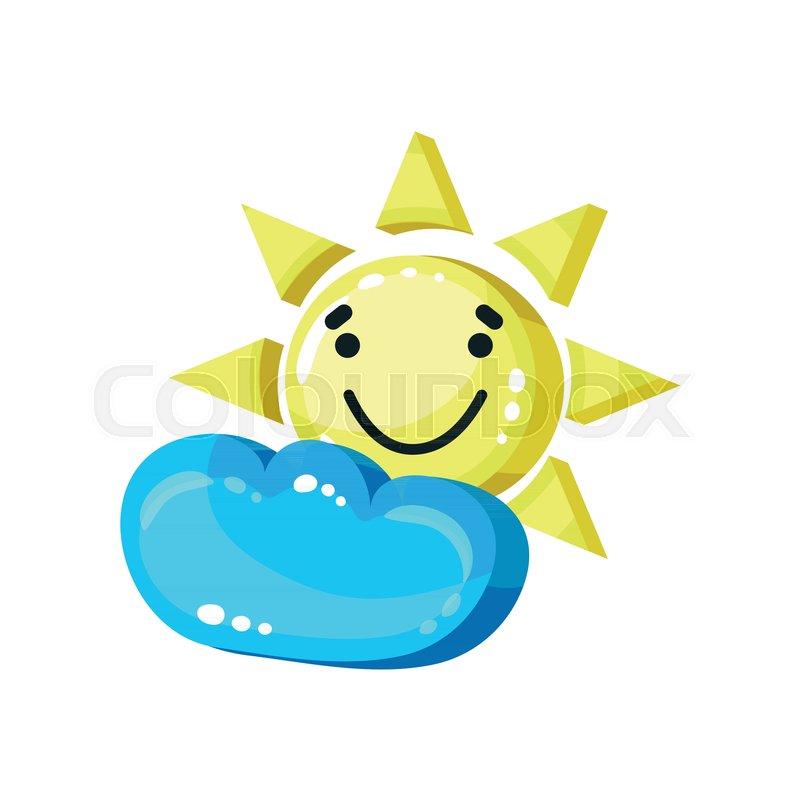 Smiling sun emoji with cloud bright     | Stock vector | Colourbox