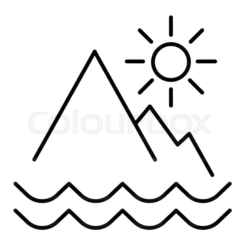Mountains Landscape Outline Icon Linear Style Sign For Mobile