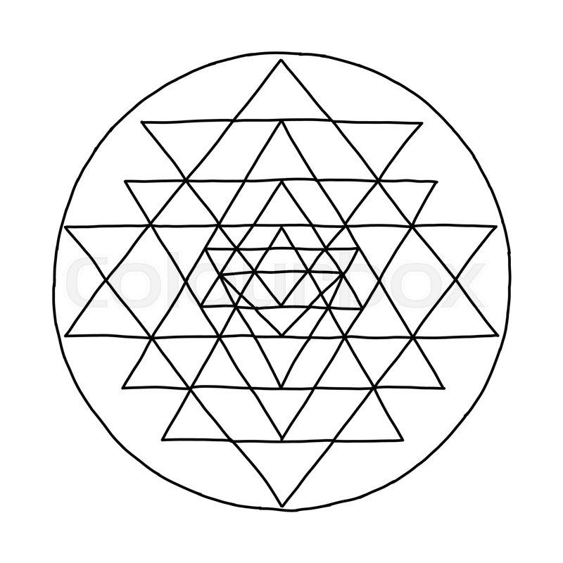 Sacred Geometry And Alchemy Symbol Sri Yantra Hand Drawn Sketch For