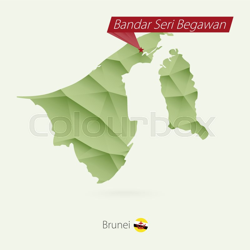 Green gradient low poly map of Brunei     | Stock vector