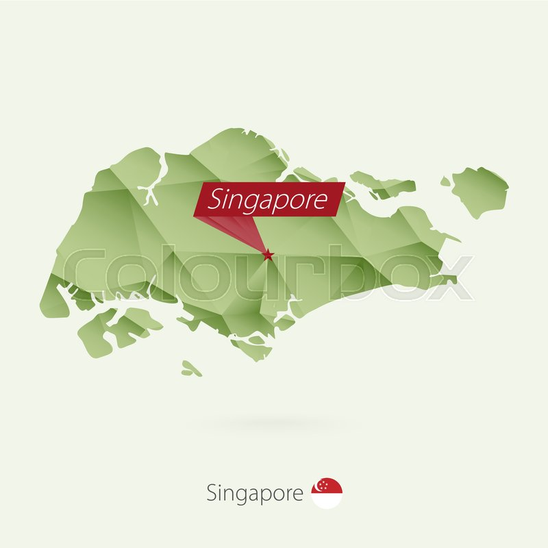 Green gradient low poly map of Singapore with capital Singapore ...