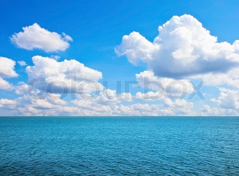 Beautiful Sea On Sunny Day With Blue Sky Stock Photo