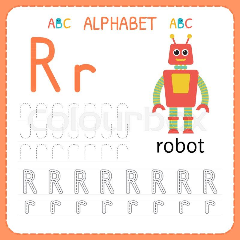 alphabet tracing worksheet for preschool and kindergarten writing practice letter r exercises for kids vector illustration stock vector colourbox