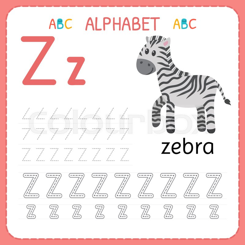 Alphabet Tracing Worksheet For Stock Vector Colourbox