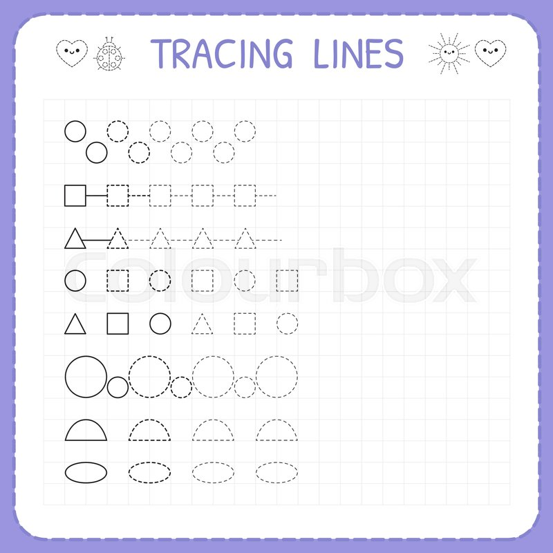 Tracing Lines Worksheet For Kids Working Pages For Children Trace