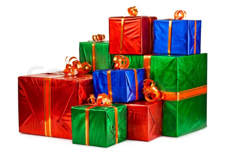 Pile of gift boxes various sizes and colors isolated on