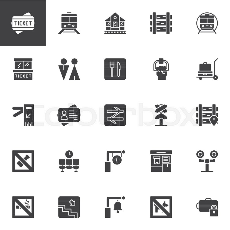 Railway Vector Icons Set Modern Solid Stock Vector Colourbox