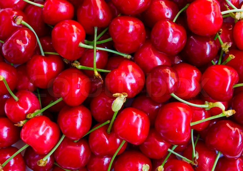 wet ripe red cherries can use as background stock photo colourbox