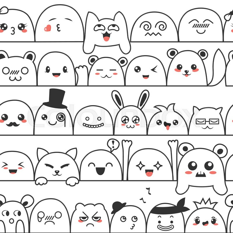 Seamless Pattern With Cute Lovely Kawaii Monsters And Animals