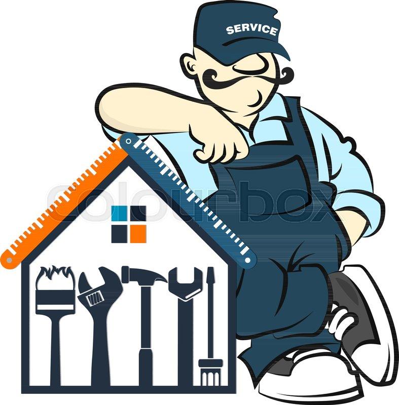 repairman handyman repair service vector worker workman tool