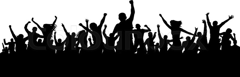 joyful mob crowd cheerful people silhouette applause group of happy friends clipart group of happy friends clipart