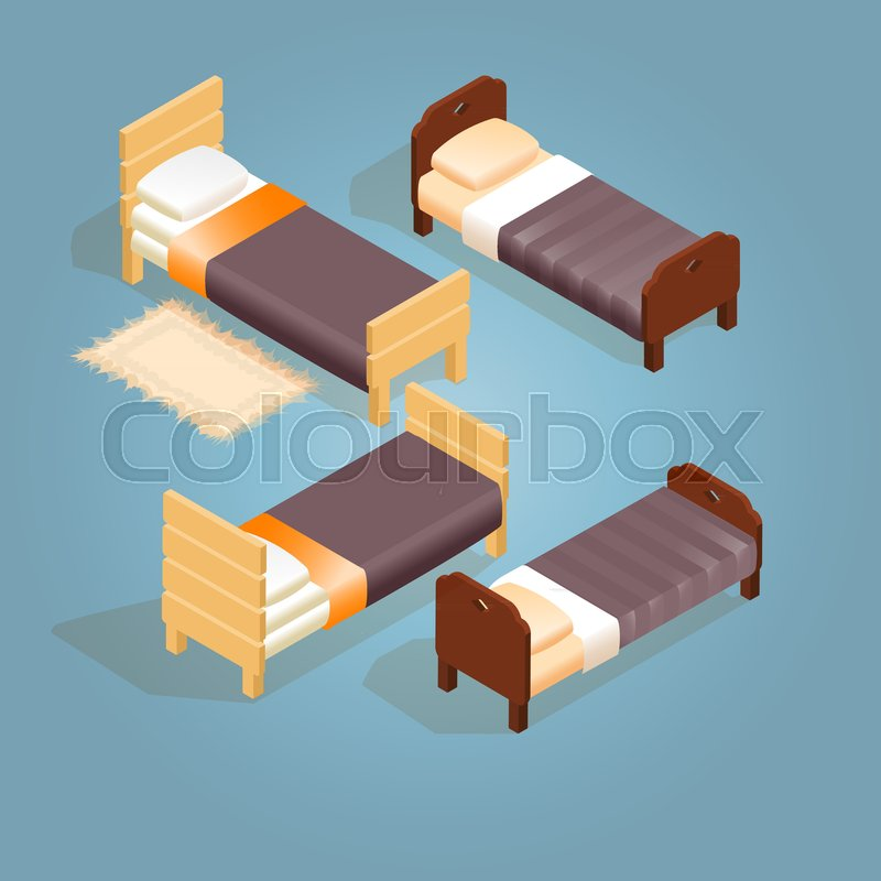 d359b2d0f8ce Isometric cartoon wooden bed for one ... | Stock vector | Colourbox