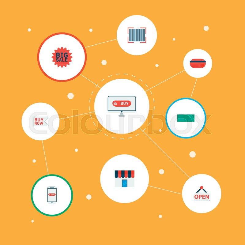 Set of magazine icons flat style symbols with badge advertising