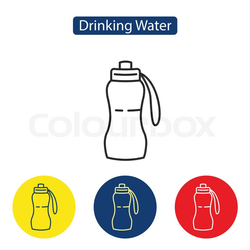 Drinking Water Fit Icons Fitness Running And Sports Water Bottle