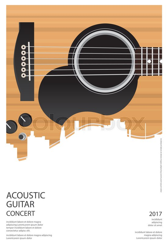 acoustic guitar concert poster background template stock vector