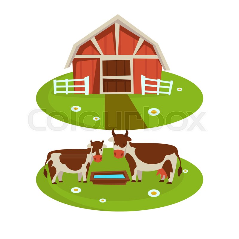 Farm Household Or Farmer Agriculture And Cattle Farming Flat Cartoon Icons Vector Design Of House Barn Cows On Pasture Corral