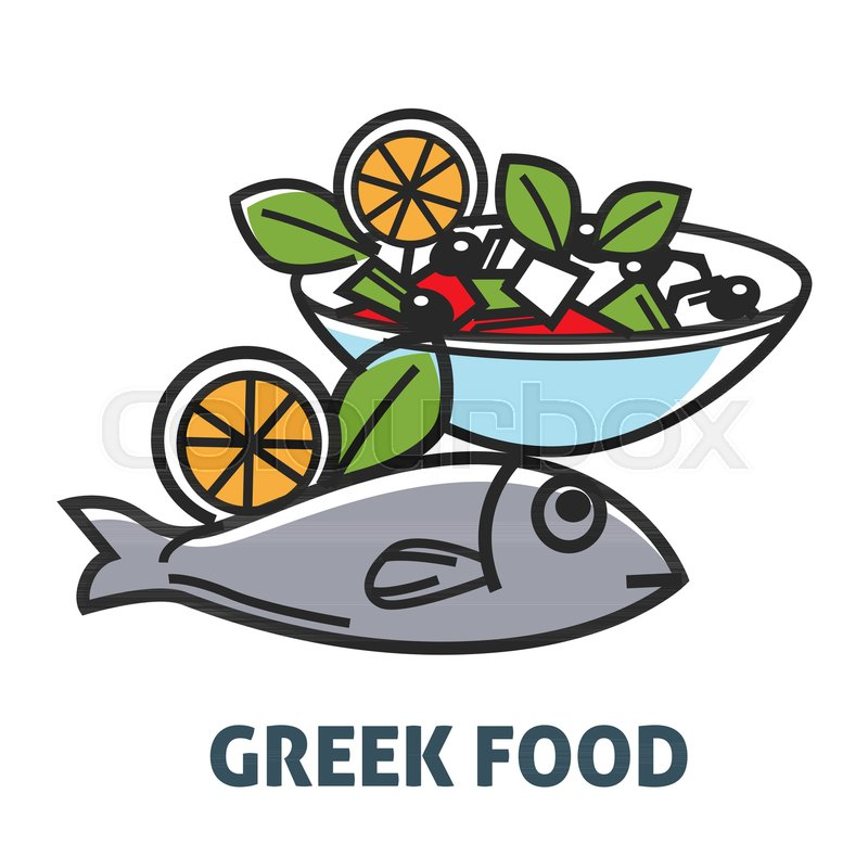 Delicious Natural Greek Food Promotional Poster With Fish And Salad