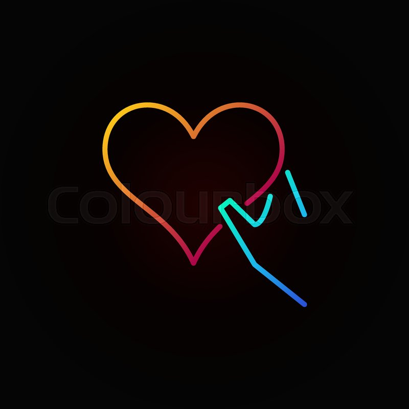 Heart In Hand Outline Colored Icon Charity Concept Vector Linear Symbol On Dark Background Stock Vector Colourbox
