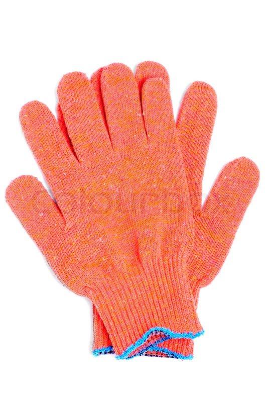 Gloves orange colour isolated on white background, stock photo