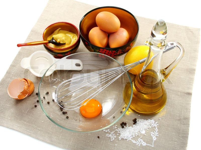 ... Mayonnaise with ingredients, including eggs, lemon, olive oil and
