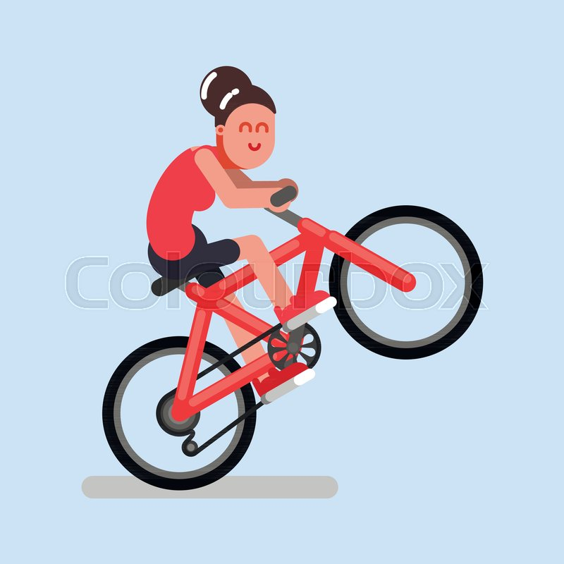 Woman rides a bicycle on one wheel      | Stock vector | Colourbox