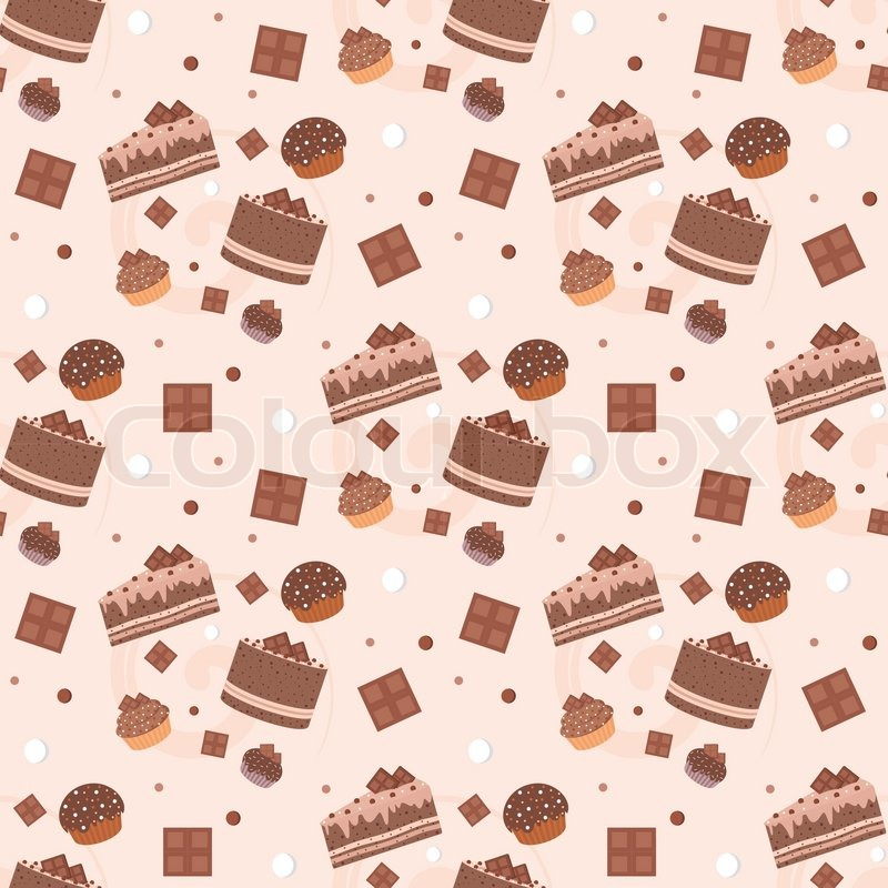 Design Patterns Of Cake : Seamless chocolate cakes pattern Stock Vector Colourbox