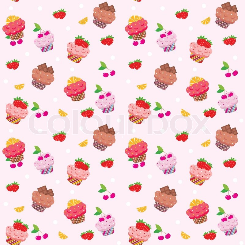seamless cupcake pattern stock vector colourbox Bake Sale Clip Art Graphics Halloween Bake Sale Designs