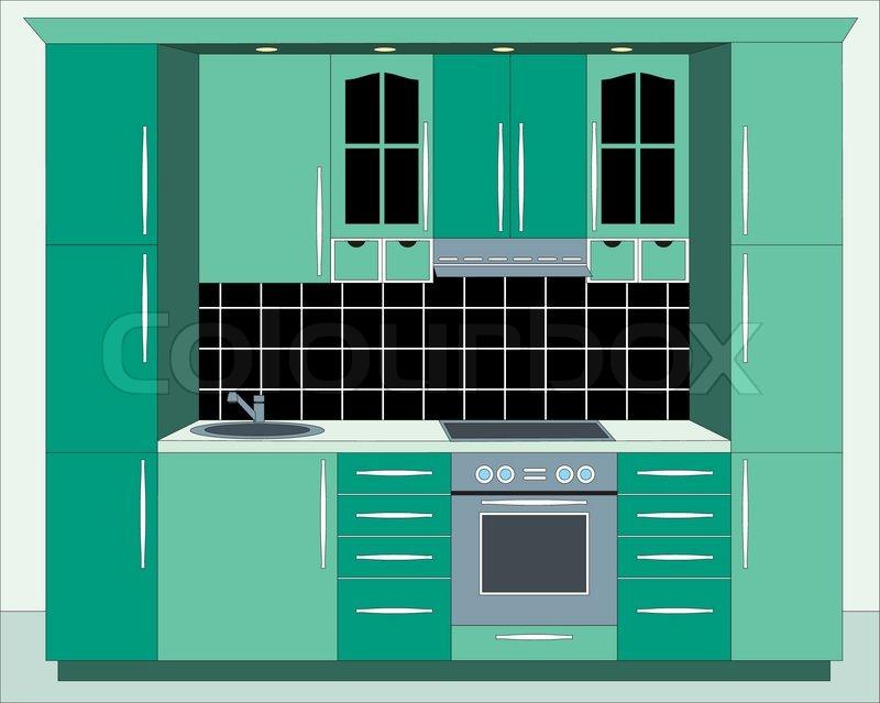 Kitchen Furniture. Interior, Vector