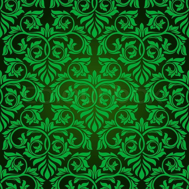 Green Seamless Wallpaper Pattern Stock Vector Colourbox