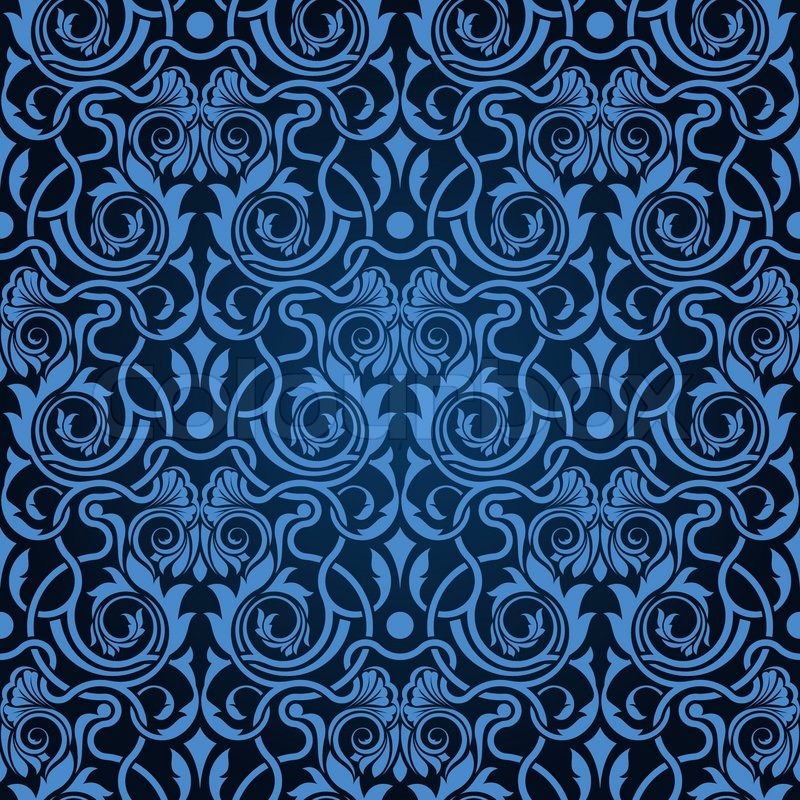 Blue seamless wallpaper pattern | Stock Vector | Colourbox